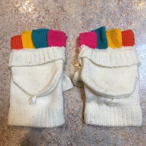 Fingerless gloves with mitten topper